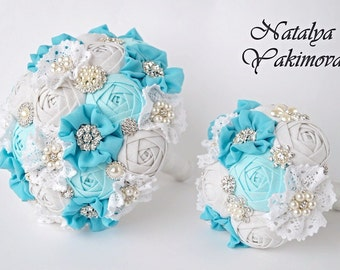 Wedding set, Bridal bouquet, Toss bouquet, Fabric Brooch Vintage, Rustic, white aqua turquoise