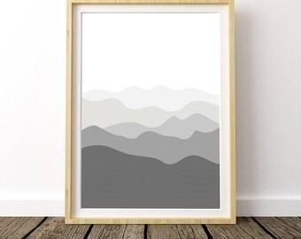 Mountain Nursery, Adventure Nursery, Mountain Nursery Print, Mountain Print, Ombre Mountain, Mountain Range, Mountain Nursery Art