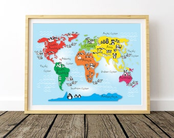 Large World Map, World Printable Map, World Map Kids Room, World Map for Kids, Nursery World Map, Children Gifts, Animal World Map