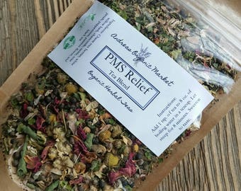 Organic PMS Tea Blend, Organic Loose Leaf Tea Blend, Organic Herbal Tea, PMS Remedy, Natural Tea For Cramps, Period Tea, Organic Tea Blend