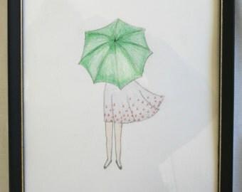 Girl with Umbrella Sketch