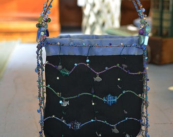 """One-of-a-Kind Handmade Reversible Bead and Wire Purse """"Fish"""""""