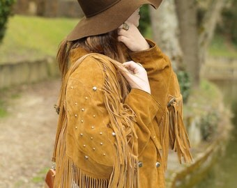 Bohemian hippie jacket in suede