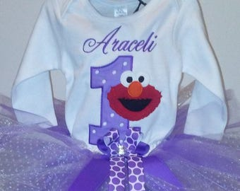 Purple Red Elmo 1st Birthday Outfit Onesie Tutu FREE Hair Bow Personalized