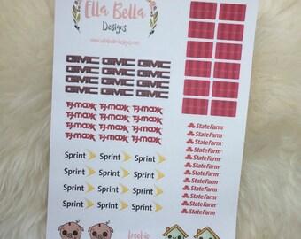Bill stickers, logo stickers, shop logo