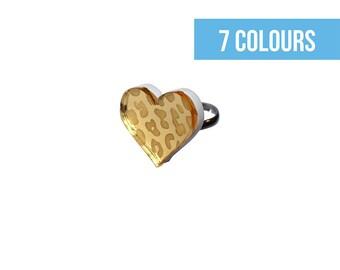 Leopard print heart ring | Animal print | Fun rings | Gold leopard print | Safari print | Burlesque jewellery | Big cat lover gift