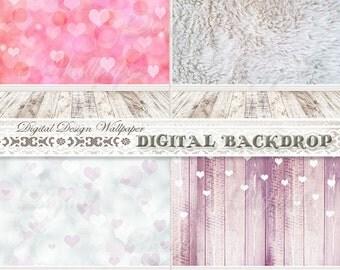 Digital Backdrop,Photo Backdrop,Photography Background,Digital Background,Bokeh Digital,Digital Backdrop Bokeh,Heart Bokeh Background