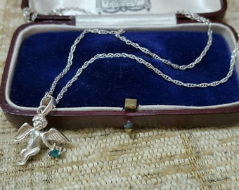 Vintage 925 sterling silver necklace with a dainty cherub/angel