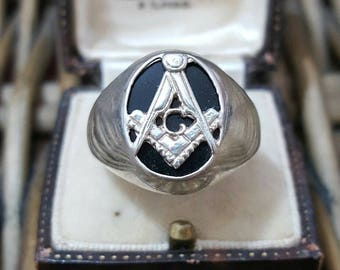 Vintage masonic freemasons sterling silver men's signet ring, size w