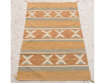"1950's Vintage Navajo Chinle Wide Ruins Vegetal Dyed Homespun Wool Rug 53"" x 33"", Native American Southwest Rug, Hand Woven Boho Chic Rug"