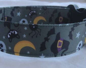 Halloween  Dog collar matching lead available gothic goth black cat
