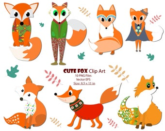 Fox Clipart Digital Vector Fox Clipart Cute Fox Clipart Foxes Clipart Woodland Fox Clipart Friendly Fox Animals clipart Commercial use Foxes
