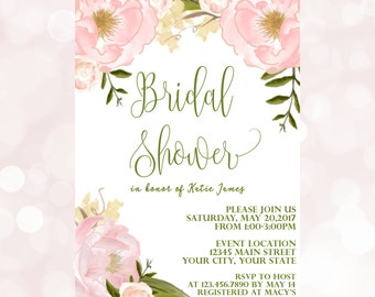 Bridal Shower Invitations - Blush and Greenery Bridal Shower Invitation- Printed Wedding Shower Invitations - Bridal Shower Invite PRINTS