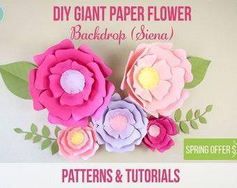 "Giant Paper Flowers ""Siena"" Patterns - Video tutorials"