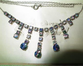 Beautiful vintage rainbow rhinestone droplet necklace