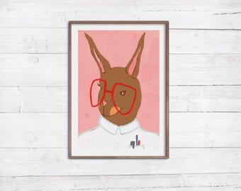 Frau Hase Poster Print A4 Tierportrait Illustration Ärztin Doktor Krankenschwester Brille bunte Dekoration Kinderzimmer