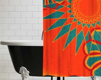 West Indies Boho Modern Shower Curtain  Orange Bohemian Bathroom Decor UBU Republic Curtains Rings Etsy