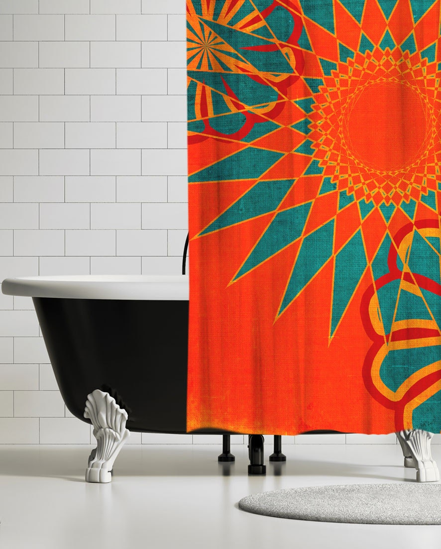 West Indies Boho Modern Shower Curtain Orange Bohemian