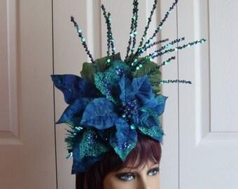Headdress Headband Royal Blue and Teal Pointsettia with Sparkles Christmas Holiday