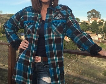 Up cycled Flannel oversized Plaid Turquoise and Brown