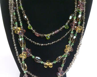 Sterling Silver Multi Colored Five Strand Necklace Vintage .925
