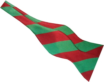 Red Green Christmas Holiday Stripe Self-tie Bow Tie  2503