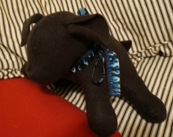 Handmade Sensory-Friendly Softie - The Blank Puppy (Charcoal/Blue Flames Ribbon)