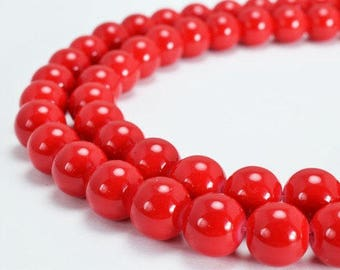 Red Glass Beads Round 10mm Shine Round Beads For Jewelry Making Item #789222045586