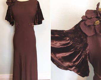 Vintage 1930's floor length chocolate brown evening gown with velvet flutter sleeves / 30's evening gown / 30's vintage dress