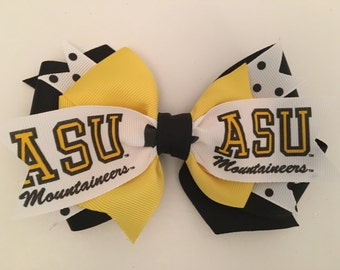 ASU Hair Bow, Appstate Hair Bow, Appstate Bow, Mountaineers Bow, Appstate Logo Bow, Yellow and Black Bow, ASU Mountianeer Bow