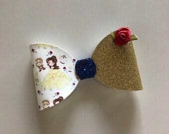 Beauty and the Beast Bow Headband/clip