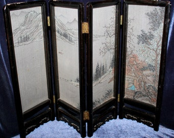 50's, Chinese, Silk Screen, Wood Frame, Silk, Mini, Screen, Folding Screen, China Silk, Chinese Screen, Table Screen, Hand Painted