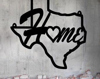 Texas Home - Texas State - Home & Garden - Medium (16 w x 15 1/2 h) Metal Art - Indoor - Outdoor