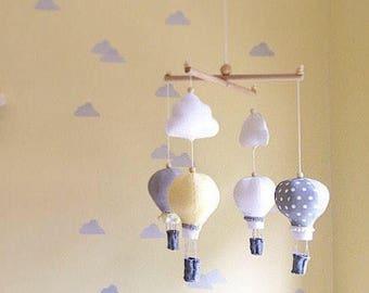 Hot air balloon mobile- baby mobile- gender neutral mobile- nursery mobile- yellow grey nursery- crib mobile- hot air balloon