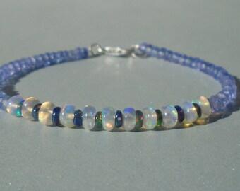 Opal Bracelet with Tanzanite, Ethiopian Opal Bracelet, Tanzanite Bracelet, Gemstone Bracelet, Fiery Opal Bracelet, Dainty Bracelet