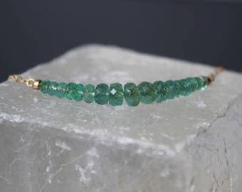 SALE 25% OFF: Emerald Necklace, Zambian Emerald Necklace, Gemstone Bar Necklace, Emerald Choker, May Birthstone