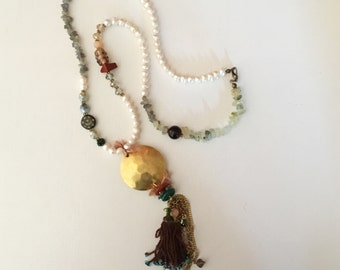 Boho style brass necklace with pearls and gemstones