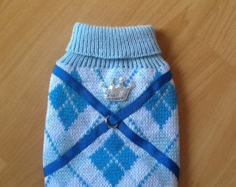 Blue Argyle dog sweater and adjustable harness, all in one.