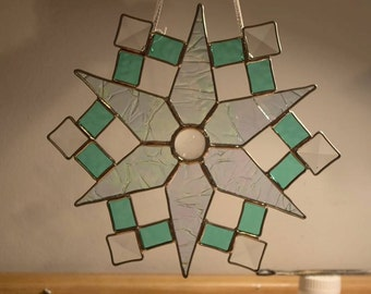 XL Stained Glass Snowflake Sun Catcher