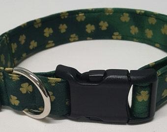 Dog Collar, Gold Shamrocks