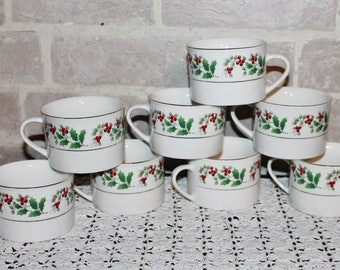 Christmas Delight china cups set of 8, Holiday dinnerware dishes, Holly berry design Discontinued 1995 - 1997