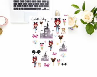 Planner Stickers, Red Head, Red Haired Girl, Red Hair, Mouse Ears, Deco Stickers, BUJO, Bullet Journal, Travelers Notebook, Happy Planner