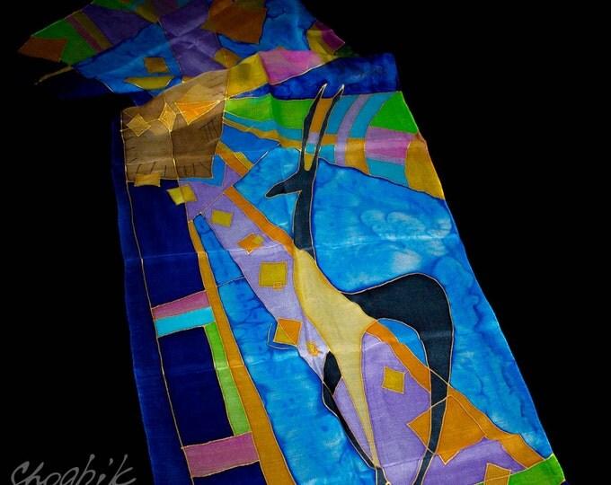 Armenian Handmade Gift – Batik Silk Scarf – Mountain Goat – Author Work