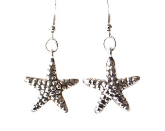Silver Starfish Earrings Textured Puffed Hollow 3D double sided starfish earrings