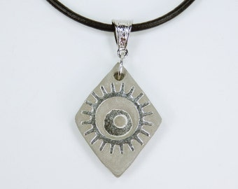 Necklace gears steampunk concrete jewelry on a black leather strap unique concrete with silver gear vintage concrete jewelry