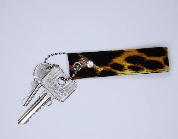 Keychain Black leopard fur pattern with rhinestone Keychain Keyring Keychain for Keychain animal print keyring