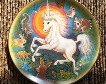 Vintage collectible Plate, Unicorn Fantasies, signed and numbered