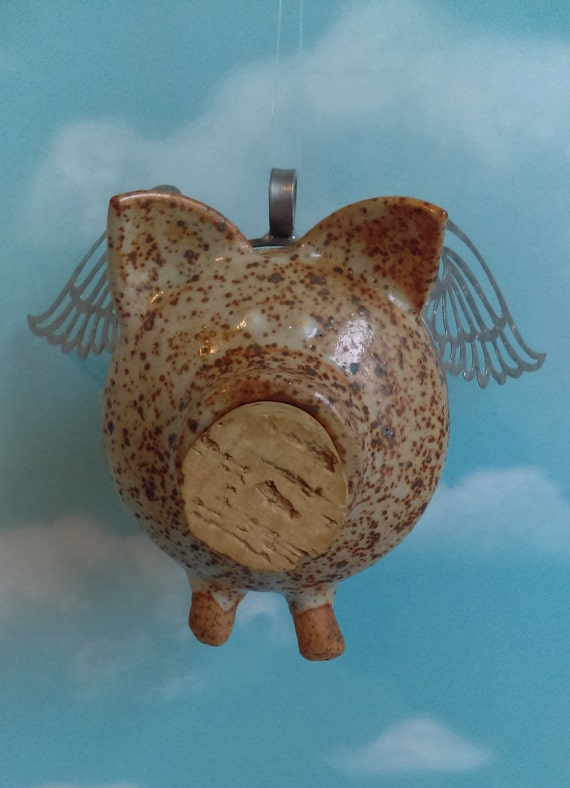 Flying Pig With Cork Nose Up Cycled Piggy Bank