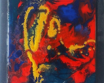 READY TO SHIP Roots Abstract art painting  acrylic bleu red and gold with resin mix media painting Office decor home decor wood