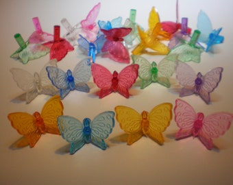 25  Vintage Ceramic Butterfly light, bulbs, 9 Assorted Different colors New Ceramic Christmas Tree Lights...Low Shipping!
